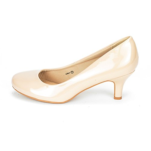 DREAM PAIRS LUVLY Women's Bridal Wedding Party Low Heel Pump Shoes Nude-Patent Size 8