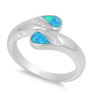 11Mm Sterling Silver Beautiful Luxury Elegant Blue Opal With Clear Cz October Rainbow Sparkles Blue Lab Opal Birthstone Ring 5-10 (9)