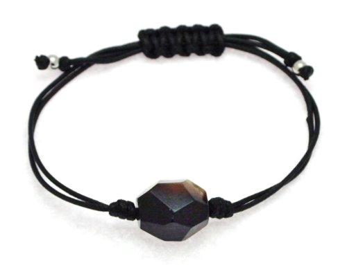 Black Thread Knotted Bangle Type Adjustable Bracelet with Black Agate Bead
