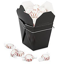 12 Black Party Favors Elegant Chinese Take-out Box 1/2 Pint with 12 Gift Seals