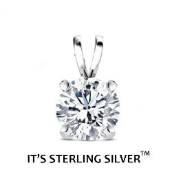 925 Sterling Silver Solitaire Cubic Zirconia Pendant. (Basket Setting) 1.00 carat 6.50 mm Round Top Quality Cubic Zirconia