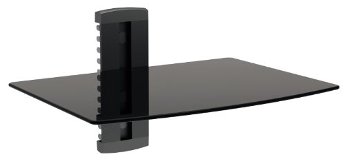 Designer Habitat - 1x Black Floating Shelf with Strengthened Tempered Glass for DVD Players/Cable Boxes/Games Consoles/TV Accessories