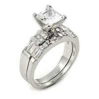 7mm CZ Wedding Set with 6.5mm CZ Stone