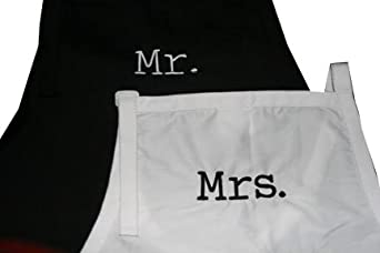 "Black & White Embroidered Set of Aprons ""Mr & Mrs"""