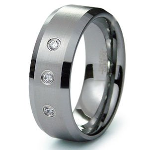Tungsten Carbide Diamond Wedding Band Ring 8mm w/ Grooves (0.10ctw) GH/SI