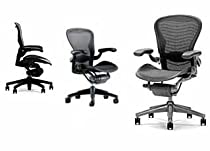 Big Sale Aeron Chair - Herman Miller Highly Adjustable with Lumbar Support Pad Cushion - Medium Size (B) Graphite Dark Frame, Classic Dark Carbon Pellicle Mesh Home Office Desk Task Chair