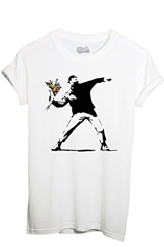 T-SHIRT BANKSY FIORI - FAMOSI by MUSH Dress Your Style - Uomo-L-BIANCA