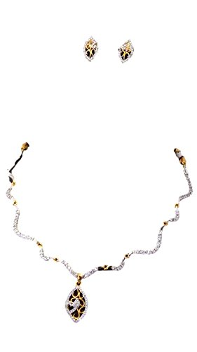 Apex Gold & White Brass Necklace Set For Women