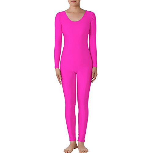 [Muka Scoop Neck Long Sleeve Unitard Lycra Zentai Bodysuit Catsuit Dancewear PINK-M] (1980 Theme Party Costume Ideas)