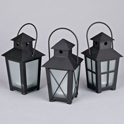Metal Lanterns With Led Tea Lights, 5.5 Inch, Timer, Black Set Of 12