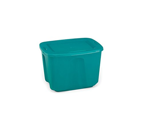 Homz Plastic Storage Tote Box with Lid, 18 Gallon, Deep Blue, Stackable, 8-Pack (18 Gallon Storage Tubs compare prices)