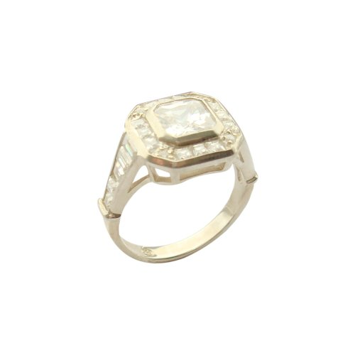 Large Cubic Zirconia Sterling Silver Ring Size 8