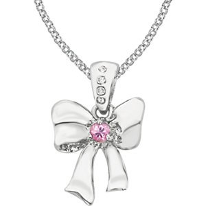 Genuine IceCarats Designer Jewelry Gift Sterling Silver Pnk Saph And .02Ctw Dia Bow Nck 02.35 Mm 14 Inch Pnk Saph And .02Ctw Dia Bow Nck In Sterling Silver