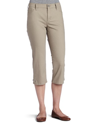 Not Your Daughter's Jeans Women's Petite Rhinestone Grommet Capri, Mushroom, 4 Petite