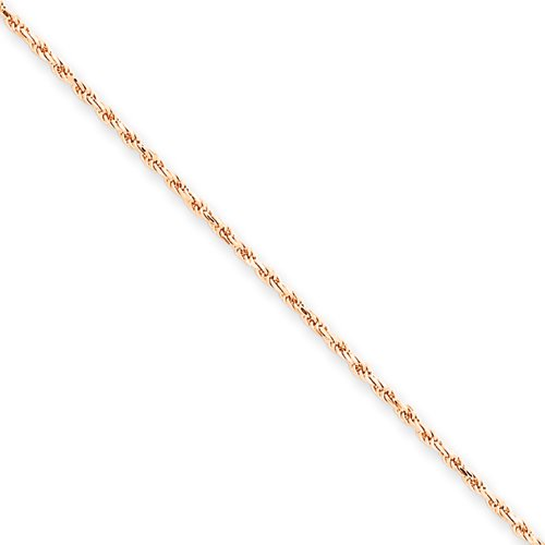 7 Inch 14k Gold Rose Gold 1.5mm D/C Rope Chain