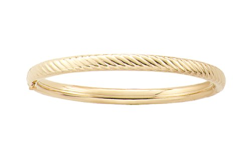 14k Yellow Gold Filled Children's Twisted Rope Guard and Hinge Bangle Bracelet
