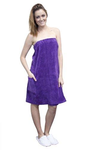 Terry Velour Bath Wrap Women's 100% Cotton Spa Beach Pool Shower Wrap(XXL,Purpl)