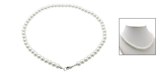 Rosallini White Elegant Girls Jewelry Faux Pearl Necklace w/ Metal Clasp