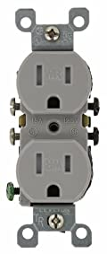 15 Amp, 125 Volt, Weather and Tamper Resistant, Duplex Receptacle, Grounding, Side and Quickwire, Gray, W5320-T0G
