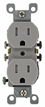 15 Amp 125 Volt, Weather and Tamper Resistant, Duplex Receptacle, Grounding, Side and Quickwire, Almond/Gray/White/Ivory, W5320-T0