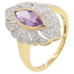9ct Gold Amethyst & Diamond Flower Cluster Ring - L 1/2