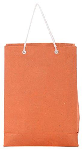 Utsav Kraft Paper 3 Ltrs Orange Reusable Shopping Bags (pack Of 10) - B01LYGKU5H
