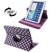 360 Degree Rotation Purple and White Dot Pattern Leather Case with Holder for Samsung Galaxy Tab 3 (10.1) / P5200 / P5210(Purple)