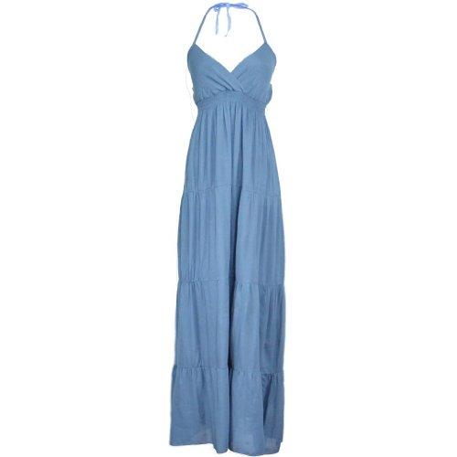 Aileen88 Women Bohemian Casual V-Neck Sleeveless Straps Halter Maxi Beach Dress 6 Blue