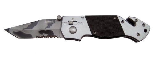 Seber RK1675CP Serrated Tanto Camo Polished Ratcheting Knife
