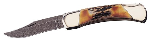 Bear & Son 597D 5 Inch Genuine India Stag Bone Prof Lockback W/Sh Damascus Knife