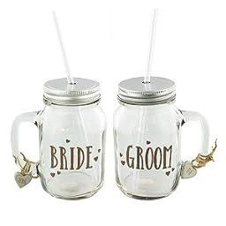 Love Story Mason Jar Drinking Glasses Set 2 Bride and Groom
