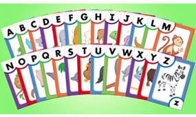 Master letter names and sounds with 26 two-sided interactive flash cards