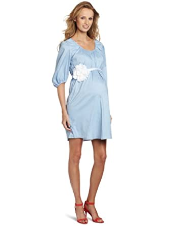 MORE of me Women's Maternity Fully Lined The Baby Shower Dress, Blue, Medium