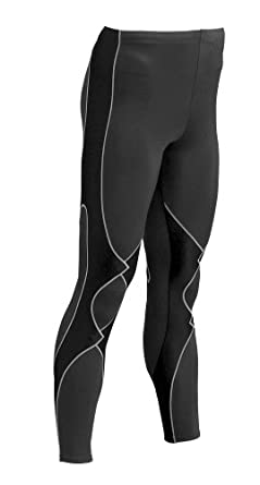 CW-X Men's Insulator Expert Running Tights,Black/Grey Stitch,Small