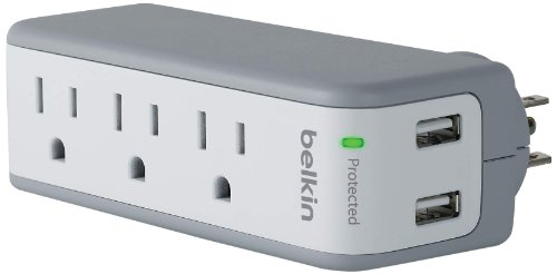 Belkin BST300 SurgePlus 3-Outlet Mini Travel Swivel Charger Surge Protector with Dual USB Ports (2.1 AMP / 10 Watt)