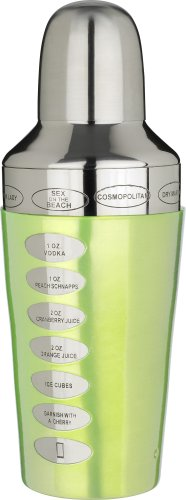 Trudeau Fusion Recipe 20-Ounce Cocktail Shaker, Green