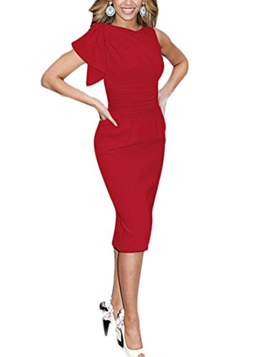 REPHYLLIS Women Elegant Sleeveless Working Cocktail Casual Party Pencil Dress (Large, Red)
