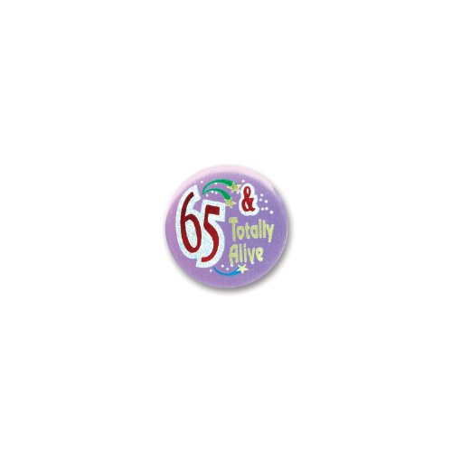 "65 And Totally Alive Satin Button 2"" Party Accessory"