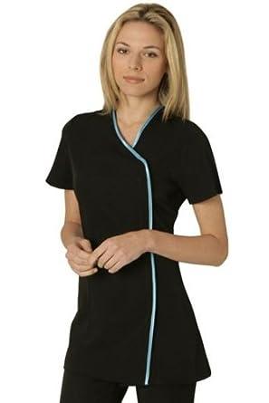Charm tunic black blue trim size 6 clothing for Spa uniform amazon