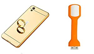 Novo Style Back Cover Case with Bumper Frame Case for Vivo V3  Golden + Mini USB LED Light Adjust Angle / bendable Portable Flexible USB Light