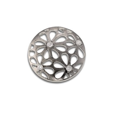 Fashion Necklace Pendant Jewelry 925 Sterling Silver Circle with Charming Flower Cut-Outs Design and Clear CZ (WoW !With Purchase Over $50 Receive A Marcrame Bracelet Free)