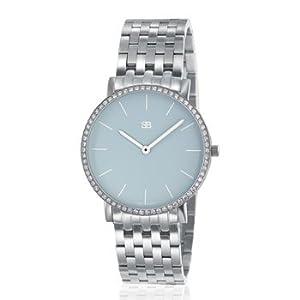 SOB1018/DIA Steel Blaze Watch, Sky Blue Dial, Full Diamond Bezel, Steel Bracelet