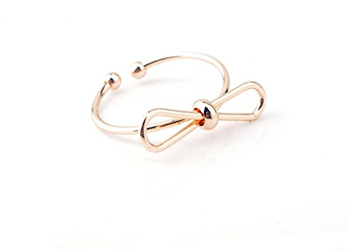 [Angela_max Copper Finger Ring Simple Elegant Bow-Knot Fashion Girls Jewelry Nail Ring Gold for Womens] (The Office Angela Costume)