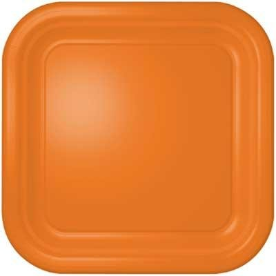 Orange Square Dinner Plates (12 count)