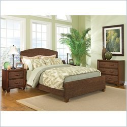 Home Styles Cabana Banana Queen Natural Woven Bed 3 Piece Bedroom Set in Cocoa Finish