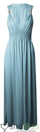 Womens Sleeveless Spring Coil Maxi Dress Ladies Long Jersey Stretch Maxi Dress Aqua One Size : Regular