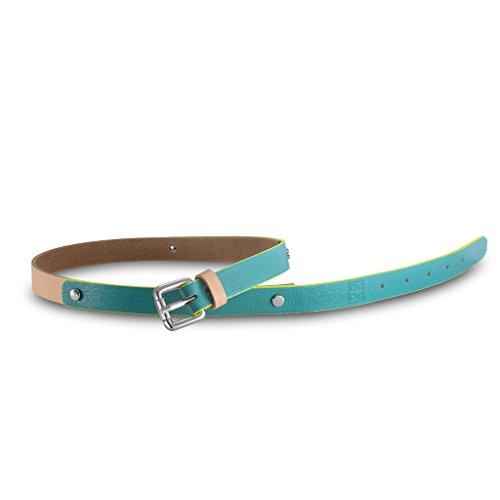 Cintura donna in pelle Saffiano Made in Italy con borchie DUDU Turchese