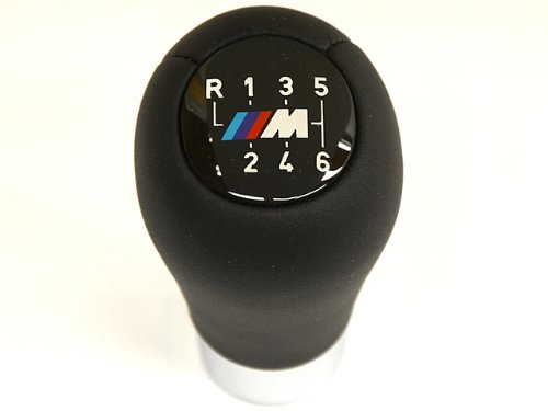BMW (2001+) Shift Knob 6-speed ///M sport logo GENUINE Leather weighted (Bmw 545i Shift Knob compare prices)