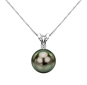 14k White Gold .05tcw Diamond 10-10.5mm Round Black Tahitian Cultured Pearl Pendant Necklace, 18