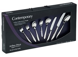 Arthur Price Contemporary Willow 44 Piece Cutlery Box Set FREE Extra Six Tea Spoons